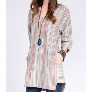 Uncle Frank striped linen tunic size L NWT